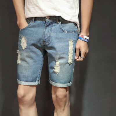 夏季薄款时尚百搭破洞牛仔裤短款男士修身小脚弹力中腰五分裤