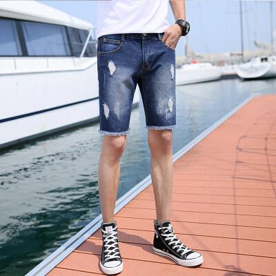 新版夏季薄款五分破洞牛仔短裤修身直筒潮牌中裤流行破洞沙滩中裤