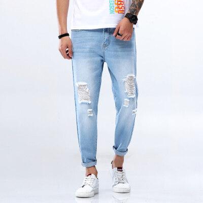 男士破洞牛仔裤男乞丐裤休闲牛仔裤九分小脚裤