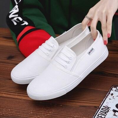 厂家批发爆款男鞋一脚蹬懒人鞋情侣款小白鞋潮鞋透气帆布鞋