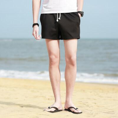 男士纯色百搭简约三分裤情侣夏天沙滩纯棉休闲薄款运动短裤