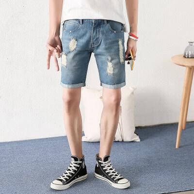 夏季牛仔短裤男青年破洞五分裤韩版潮流薄款休闲中裤潮牌裤子