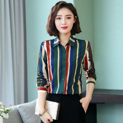 2019夏装新款女装韩版时尚气质条纹拼色衬衫修身显瘦