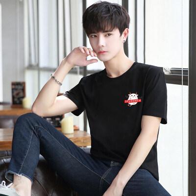 工厂直销韩版修身短袖T恤潮男夏季汗衫圆领套头衫