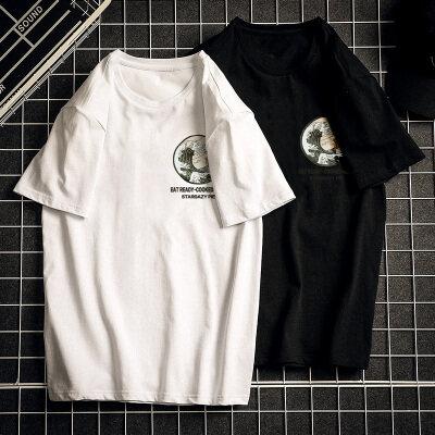 优羽尚夏季打底衫纯棉短袖T桖韩版圆领半袖潮流欧美体桖928