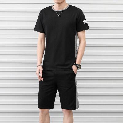 2019夏季新款青少年短袖t恤男套装韩版修身潮牌夏天一套衣服帅气