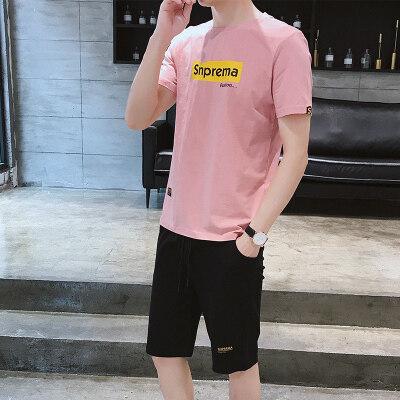 男2019夏季新款短袖T恤两件套青少年韩版潮流男士短袖套装
