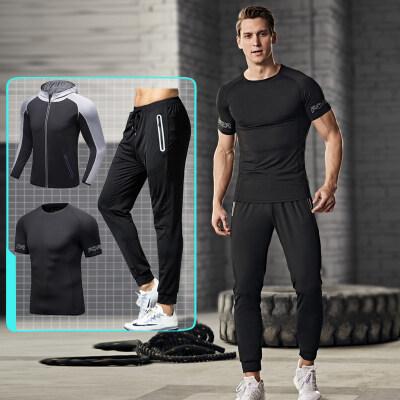 运动套装男夏季跑步服健身房春季三件速干宽松春秋休闲户外衣服装