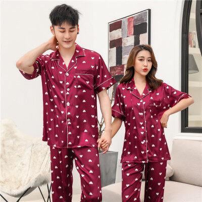 情侣睡衣女夏季短袖两件套装性感薄款韩版夏天女士仿真丝绸家居服