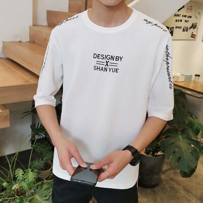 厂家大量现货供应夏季男士港风潮版短袖T恤潮男夏季上衣七分袖
