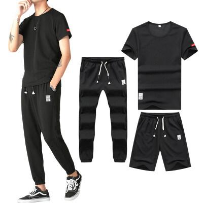 青少年夏季短裤短袖长裤三件套时尚休闲简约韩版宽松男士短套