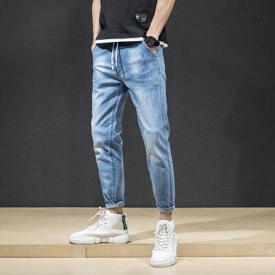 2019春夏季薄直筒牛仔裤男宽松潮港风男士牛仔裤韩版潮男裤