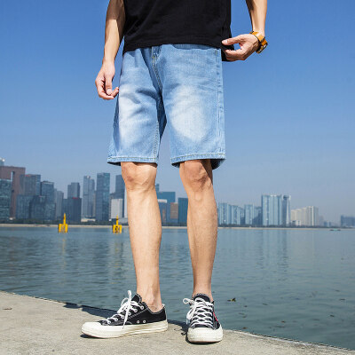 短裤男牛仔短裤男纯色五分裤男宽松短裤