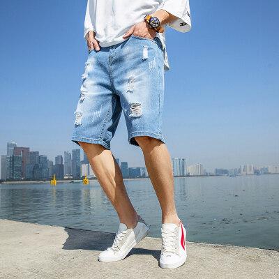 短裤男牛仔短裤男纯色五分裤男宽松破洞短裤乞丐裤
