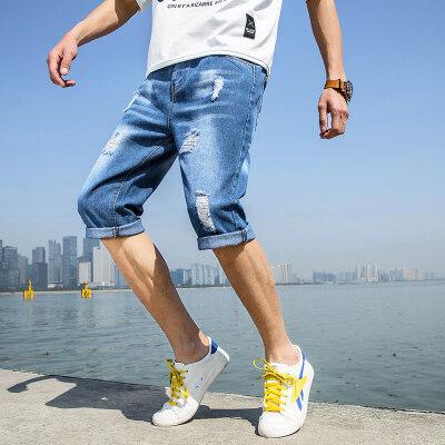 短裤男牛仔短裤男纯色七分裤男宽松破洞牛仔短裤乞丐裤
