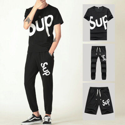 夏季新款男三件套青年学生短袖青少年短裤长裤男士T恤