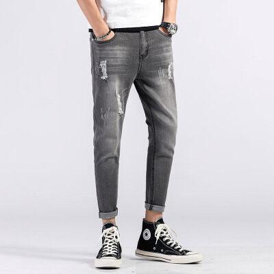 主推款外景821# 破洞牛仔裤薄款修身小脚九分裤夏季 灰色