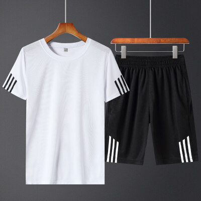 2019夏季短袖短裤潮流三条杠运动休闲套装男