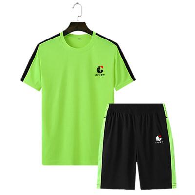 跨境专供夏季青年休闲运动套装男宽松短袖T恤裤子拉链M-4XL