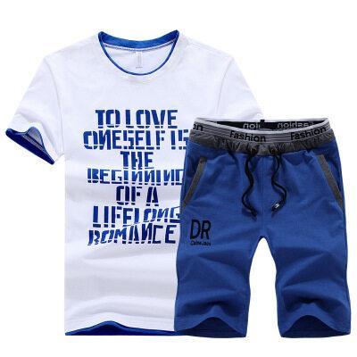 夏季DR运动短袖套装男春款健身房跑步运动服T恤男装休闲短裤男