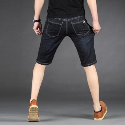 夏季弹力牛仔短裤男宽松夏季五分裤潮薄款休闲青年大码中裤