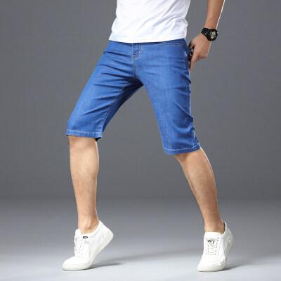夏季弹力宽松薄款五分裤青年大码牛仔中裤42-44-46码