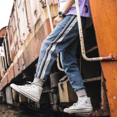 日系牛仔裤男宽松大码夏季潮牌束脚哈伦裤学生浅色拼接小脚九分裤