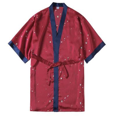 春夏季睡衣女性感冰丝绸睡裙长袖系带浴袍薄款少女铃铛睡袍中长款