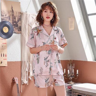 韩版短袖女学生睡衣冰丝夏季短裤短袖丝绸薄款两件套家居