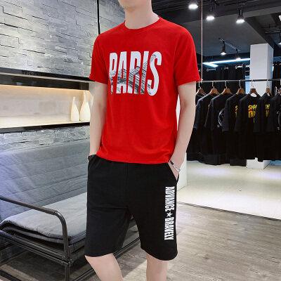 2020夏季新款t恤短袖男两件套男士休闲运动套装学生潮