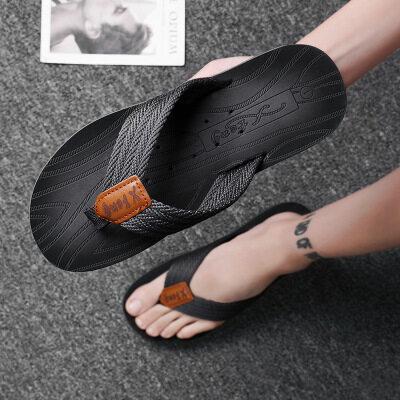夏季男士手工潮拖鞋透气休闲外穿人字拖平跟夹拖夹脚防滑沙滩拖鞋