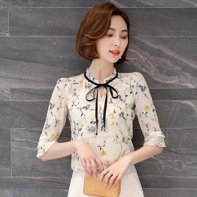 图荣夏季新款女装气质v领喇叭袖小衫韩版时尚植物印花雪纺衫上衣