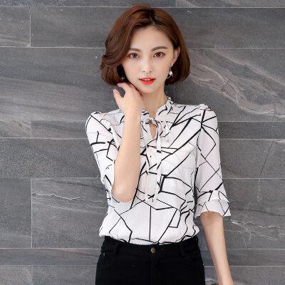 图荣雪纺衫女夏季V领系带短袖小衫韩版时尚喇叭袖上衣女一件代发