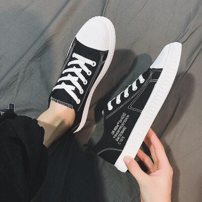 经典款男士帆布鞋2019春夏季休闲韩版学生布鞋低帮潮流运动平板鞋