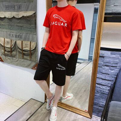 夏季男套装蚂蚁皱布料T恤大码男短袖短裤潮流捷豹运动休闲套装男