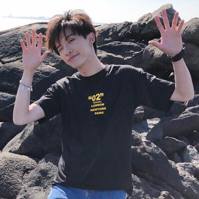 潮牌短袖t恤男纯棉欧美街舞嘻哈风修身体恤青年打底衫运动上衣