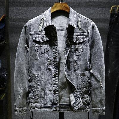 春秋季牛仔外套男青年潮流破洞夹克修身韩版渐变牛仔衣学生褂上衣
