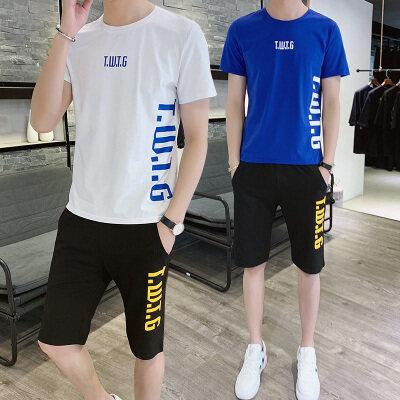 运动套装男士套装年轻新款T恤男两件套