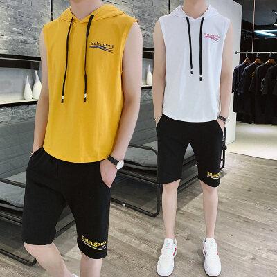 男士短袖t恤运动套装潮牌一套搭配春装夏新款韩版潮