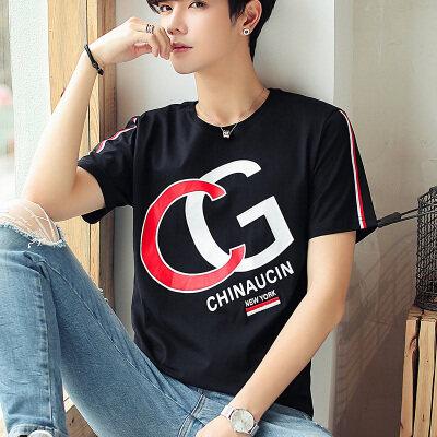 优羽尚夏季新款男士短袖T恤韩版潮流圆领休闲纯棉半袖85937