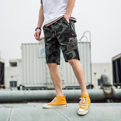 工装短裤男士夏季迷彩五分裤子男生韩版潮流休闲夏天宽松沙滩五分