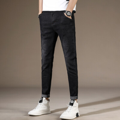 春季新款男士牛仔裤男弹力直筒韩版修身潮流小脚休闲百搭长裤