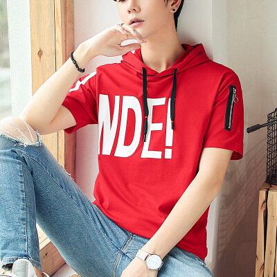 优羽尚夏季新款男士半袖韩版潮流连帽短袖T桖男打底衫85957