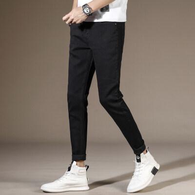 男士牛仔裤潮流韩版弹力青年修身小脚黑色休闲男裤长裤子