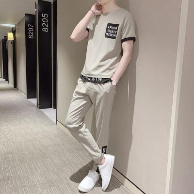 2019夏季新款新型质感布料短袖长裤休闲套装男