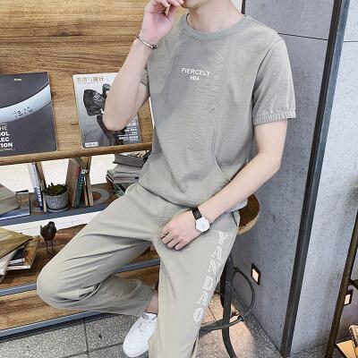 2019夏季新款新型质感布料短袖长裤运动休闲套装男