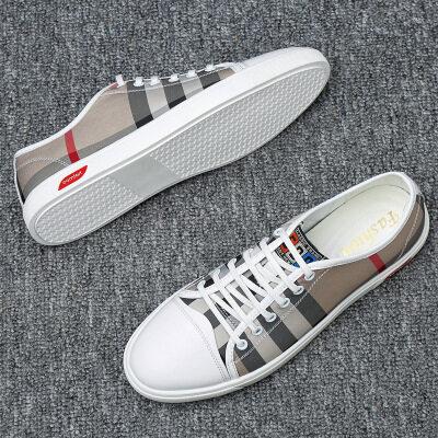 轻奢潮牌气质款男鞋2019新品真皮小白鞋男士韩版运动休闲皮鞋板鞋