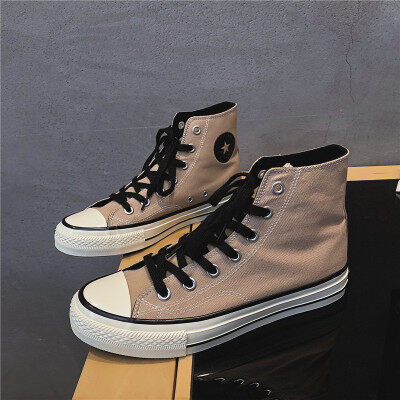 学院风潮牌新品帆布鞋舒适经典复古休闲硫化鞋高帮学生文艺板鞋男
