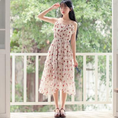 不低于99 法式少女复古印花连衣裙