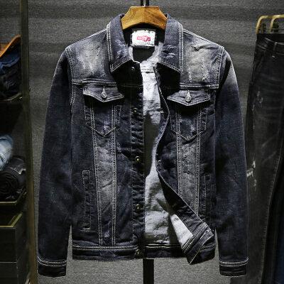 春秋季牛仔外套男士韩版新款潮牌工装学生褂帅气修身情侣夹克衣服